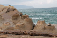 The Candles shape rock Yehliu Geopark royalty free stock photos