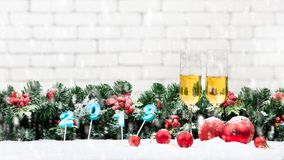 Candles in shape of year 2019 soft focus background decorate wit stock photography