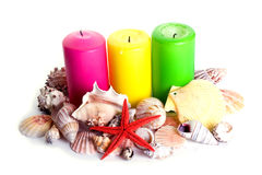 Candles and shells Stock Image