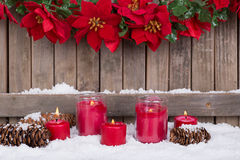 Candles in the Snow Royalty Free Stock Photos