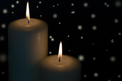 Candles with snow flakes Royalty Free Stock Photos