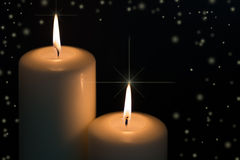Candles with snow flakes Royalty Free Stock Image