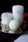 Candles with snowflakes Stock Photo