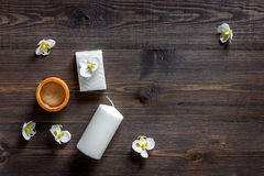 Candles and soap for aroma relax bath on wooden table background top view Royalty Free Stock Image
