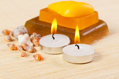 Candles, soap and sea shells Stock Images