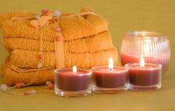 candles spa πετσέτες Στοκ Εικόνες