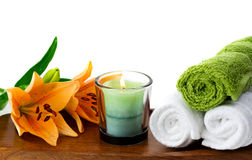 Candles and spa accessories Stock Image