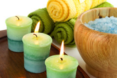 Candles and spa accessories Royalty Free Stock Images