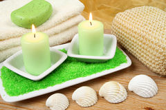 Candles in spa resort Stock Photos