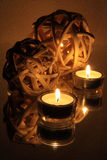 Candles and spheres with reflection Stock Photos