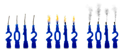 Candles 2012 status. Candles stages for year 2012 starting, during and ending Stock Image