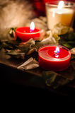 Candles. Still life with candles with rose leaves Stock Photography