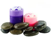 Candles and stone Royalty Free Stock Images