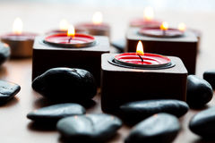 Candles and stones Royalty Free Stock Photos