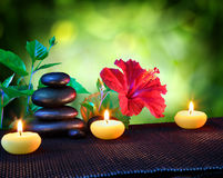 Candles and stones spa composition. With hibiscus Royalty Free Stock Photography