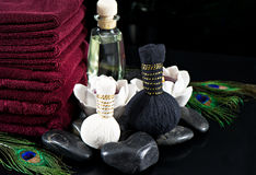 Candles and stones. wellness concept Stock Photos