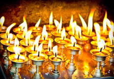 Candles at swayambhunath temple in Nepal Stock Images
