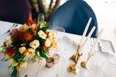 Candles on the table in the restaurant. Table setting in a cafe. Stock Images