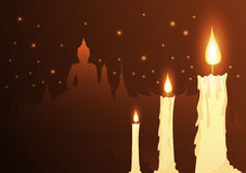 Candles and temple Buddhist with vesak day. Vector Stock Photos