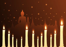 Candles and temple Buddhist with vesak day. Vector Vector Illustration