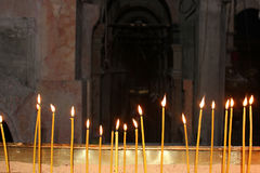 Candles in the temple stock image