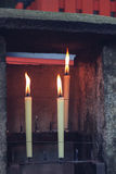 Candles in temple. Close up Royalty Free Stock Photo
