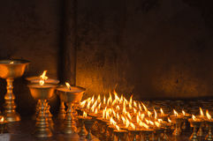Candles at temple in Kathmandu Stock Image