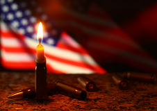 Candles terror kill in USA America. Royalty Free Stock Photo