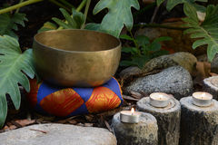 Candles and Tibetan Bell Stock Image