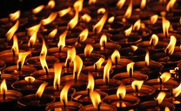 Candles in the tibetan monastery. Candles in the Tibetan monastery, Nepal Stock Image