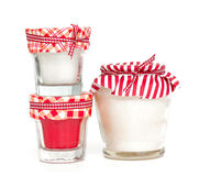 Candles in tied glasses Royalty Free Stock Image