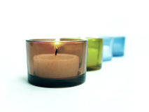 Candles in tilt way. With focuses on candle in first row Stock Images