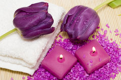 Candles, towel, salt Stock Photos