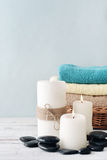 Candles with towels Royalty Free Stock Photos