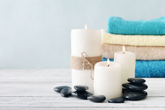 Candles with towels Stock Photo