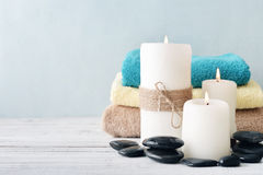 Candles with towels Stock Images