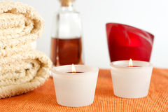 Candles, Towels and Massage Oil Stock Image