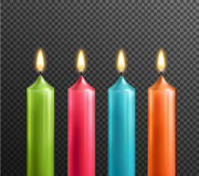 Candles On Transparent Background Realistic Set Stock Photos