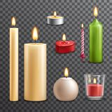 Candles transparent set. Candles realistic 3d set isolated on transparent background vector illustration Stock Photos