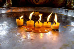 Candles on a tray Royalty Free Stock Image