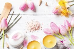 Candles,tulips, soap and incense sticks stock image