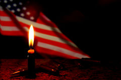 Candles USA flag dark background. Terrorism war. Royalty Free Stock Image