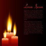 Candles, Vector Illustration. Illustration of red candles and sample text on a dark background Stock Image