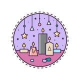 Candles. Vector illustration. Candles. Circle icon. Vector illustration of candles Stock Photo