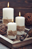 Candles on  vintage tray Royalty Free Stock Images