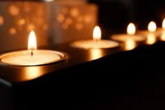 Candles for a warm illumination. Candles make a warm illumination. They are romantic, cheap and make no use of any energy royalty free stock photos