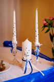 Candles on wedding table Royalty Free Stock Photo