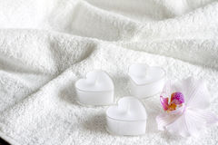 Candles on white towel abstract body care spa Royalty Free Stock Photo