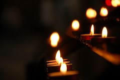 Candles in Winchester Cathedral stock photos