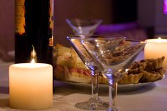 Candles,wine And Goblets Royalty Free Stock Photos